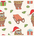 bear santa sled new year seamless pattern i vector image