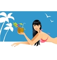 Beautiful woman on the beach with cocktail vector image vector image