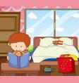 boy study in bedroom vector image