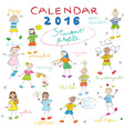 calendar 2016 kids cover vector image vector image