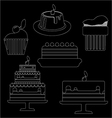Card with six big cream layered cakes over a black vector image vector image