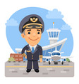cartoon airplane pilot vector image vector image