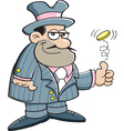 Cartoon gangster flipping a coin vector image vector image