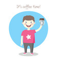 cheerful little boy with paper coffee cup vector image vector image