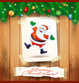 christmas background with postcard and happy santa vector image