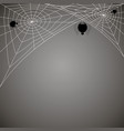 concentric web with black spiders on gray vector image vector image