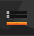 dark login form template design with username and vector image vector image