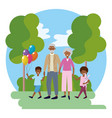 elderly couple with children vector image