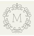 elegant retro lineart floral frame vector image vector image