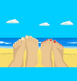 female and male feet on tropical beach vector image vector image