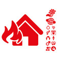 fire damage icon with love bonus vector image vector image