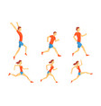 flat set athletes in running action man vector image vector image