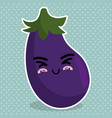 fresh eggplant vegetable kawaii character vector image