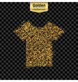 Gold glitter icon of tee shirt isolated on vector image vector image