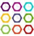 graphs chart statistic icon set color hexahedron vector image vector image