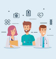 group of doctors medical staff with set icons vector image