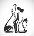 group pets - dog cat bird reptile rabbit vector image vector image