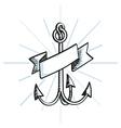 Hand Drawn Anchor with ribbon vector image vector image