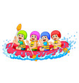 happy rafting team in a river vector image vector image