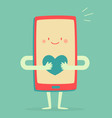 Happy Smartphone Holding a Heart vector image vector image