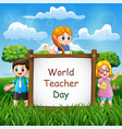 happy teachers day on sign with children vector image vector image