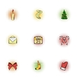Holiday icons set pop-art style vector image vector image