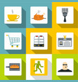 hotel management icons set flat style vector image vector image