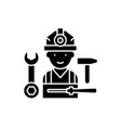 installation work black icon sign on vector image vector image