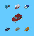 isometric transport set of auto car truck and vector image vector image