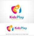 kids play logo template design emblem design vector image