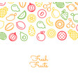 line fruits icons background with place vector image vector image