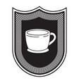 logo badge decorative of cup of coffee with handle vector image