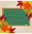 Maple leaves and green chalkboard vector image vector image