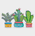 natural plants kawaii house decoration vector image