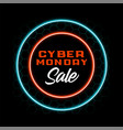 neon style cyber monday sale banner design vector image