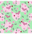 pattern with love hearts and birds vector image vector image