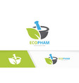 pharmacy and leaf logo combination pounder vector image