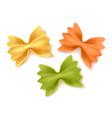 realistic farfalle dry pasta spaghetti set vector image vector image