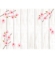sakura japan cherry branch on wooden background vector image vector image