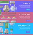 school classroom furniture poster set vector image