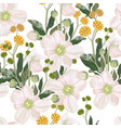 seamless pattern with white anemone flowers vector image vector image