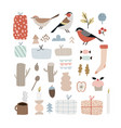 set cute christmas birds and decorative icons vector image