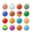 set isometric color christmas balls vector image vector image