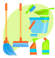 set of stuff for cleaning vector image