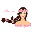 spring of girl with flowers vector image