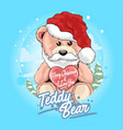 teddy bear santa claus with christmas hat vector image