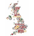The symbols of the UK in the shape of a map vector image vector image