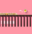 train on high bridge with sunset sky vector image vector image