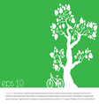 tree an bicycle over green background vector image vector image