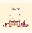 udaipur skyline rajasthan india line style vector image vector image
